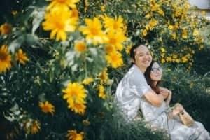 Chụp ảnh cưới lung linh cùng sắc hoa dã quỳ Đà Lạt